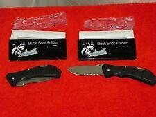 BUCK SHOT FOLDER KNIFE BY FROST CUTLERY 18-285B NEW IN BOX SET OF TWO