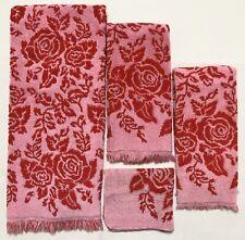Callaway MILLIKEN Pink Red Rose Floral 4-Piece Vintage Bath Towel Set (RF1061)