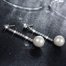 18k white gold gf crystal stud pearl earrings 925 silver pin dangle long stick