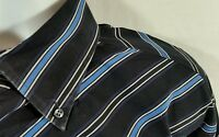 TOMMY HILFIGER Men's XL Shirt Black and Blue Diagonal Stripes Long Sleeves
