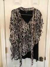 AGB ANIMAL PRINT TWO-PIECE BLOUSE-SIZE XL - BLACK,CREAM,BROWN-STRETCHY