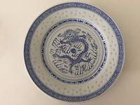 """Vintage Chinese Rice Eyes Dragon Pattern Blue & White Plate, 8 7/8"""" Diameter"""