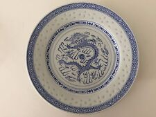 "Vintage Chinese Rice Eyes Dragon Pattern Blue & White Plate, 8 7/8"" Diameter"