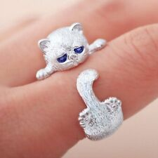 Cute Lovely Animal Cat Open Ring Silver Plated Jewelry Blue Crystal Eyes
