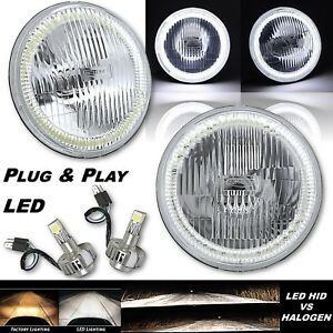 "7"" COB White Stock Halo Angel Eye Headlamp Headlight w/ H4 LED Light Bulb Pair"
