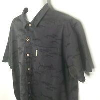 Columbia Shirt River Lodge XL Mens Gray Cotton Fish Printed Button Front Camp