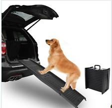 "60"" Foldable Dog Pet Ramp for Car Truck Suv Backseat Stair Steps Travel Ladder"