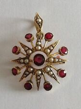 Beautiful Fine Victorian 15ct Gold Seed Pearl & Ruby Set Star Pendant