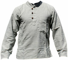 Hemp Cotton Plain White/Grey Grandad Shirt,Comfort Loose Fit Neplease Clothing