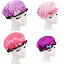 Women Bowknot Shower Cap Satin Hair Waterproof Bathing Spa Hat Salon Reusable