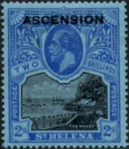 Ascension 1922 KGV  2/-  Black & Blue/Blue  SG.7  Mint (Hinged)   Cat:£110