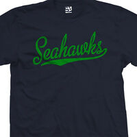 Seahawks Script & Tail T-Shirt - Baseball Style Text Football All Sizes & Colors