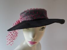40695a33f83 Vintage Caprice 50s M black picture brim Hat pink tulle pearls very good