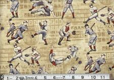 BASEBALL Game Fabric Fat Quarter Cotton Craft Quilting SPORTS Who's on 1st Base?