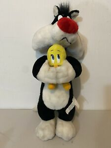 """Warner Brothers Looney Toons Sylvester and Tweety Bird Plush 22"""" Good Condition"""