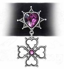 Alchemy Gothic Black Velvet 'Elizabethan' Purple Swarovski Crystal Heart Choker