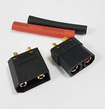 1 Pair - XT90 CONNECTORS (BLACK MALE FEMALE) REPLACEMENTS FOR XT60 EC3 EC5 DEANS