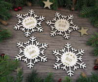 4x Personalized Christmas Tree Wooden Snowflakes, Wood Ornaments, Custom Name
