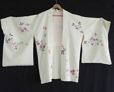 Vtg Kimono Silk Duster Hand Made Light Green One Size Silk