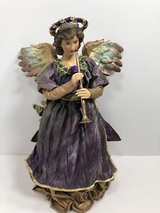 """Handcrafted Paper Mache Angel Playing Horn By Folkraft Co LTD #W6068 12"""""""