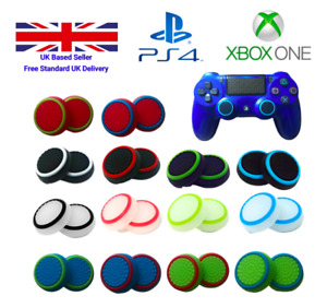 1x Pair Rubber Controller Joystick Thumb Grips 2pc PS4 Cover Analog Xbox One 360