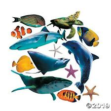 13 X LARGE REALISTIC SEA LIFE ANIMAL CARD CUT OUT SHAPES - KIDS PARTY DECORATION