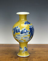 Rare Chinese Blue and White Yellow Ground Porcelain Vase