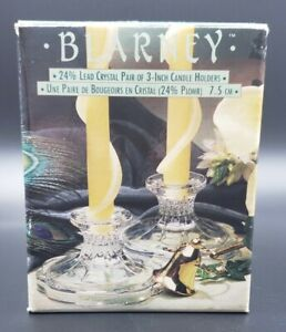 """Pair of Blarney Lead 24% Crystal Candle Stick Holders New 3"""" high w/ 4.5"""" base"""