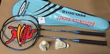 2xHigh Quality BADMINTON SET/2 RACKETS AND 2 Goose Feather Shuttle & Leather Bag