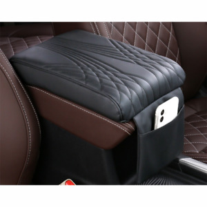 Black Car PU Leather Armrest Pad Cover Auto Center Console Box Cushion Universal