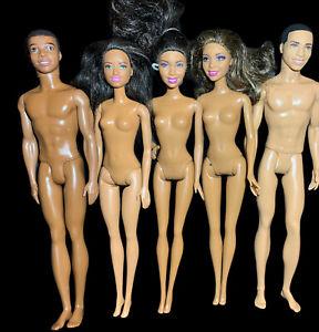 Barbie African American Brunette Doll & Ken Steven Lot Nude OOAK Play