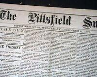 Rare PITTSFIELD MASSACHUSETTS Berkshite County 19th Century 1878 Old Newspaper