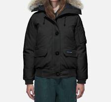 $1150 Canada Goose Women's Black Down Bomber Coyote Fur Jacket Winter Coat L