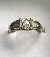 Vintage Style 14ct White Gold And Diamonds Engagement Ring Size L