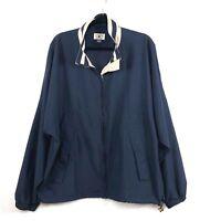 Cutter & Buck Mens Jacket Size XL X-Large Navy Blue Tan Full Front Zip Golf 47