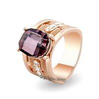 Cool 18K Rose Gold GP Purple Crystal Elegant Design Cocktail Ring M630