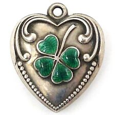 Vintage Enamel 4-LEAF CLOVER PUFFY HEART Sterling Silver Charm Engraved Balaban