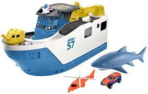 Mattel Matchbox Mission Marine Shark Ship Toy Floating Boat & Rolls on Land