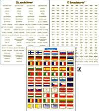 Leuchtturm Aufkleber Etiketten Münzalben Vista Jahreszahlen Flaggen Ländernamen