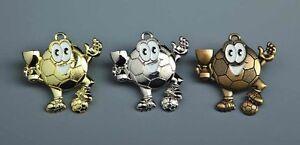 Fußball-Medaillen für Kinder (gold, silber oder bronze), mit Band.