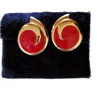 Vintage Monet Red & Gold Enamel Clip On Earrings Signed Statement