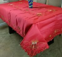 """72x72"""" Square Red Embroidery Christmas Poinsettia Candle Tablecloth w/ 8 Napkins"""