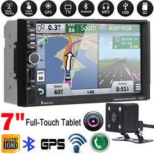 "Bluetooth Double 2 DIN 7"" Car GPS Nav Stereo MP3 MP5 Player FM Radio USB +Camera"