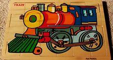 Full Colour Jigsaw Puzzle Train - & Stencil Fill Bckgrnd @ Back Board (All Wood)