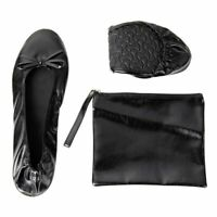 Women's Foldable Ballet Flats Roll up Shoes with Pouch, Black, L, US 8.5 - 9.5