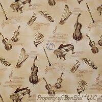 BonEful Fabric FQ Cotton Quilt VTG Cream Brown Gold Metallic Music Note Antique