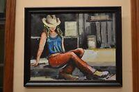"""Cowgirl, Az."" Oil On Canvas by Arizona Artist Logan Bauer"