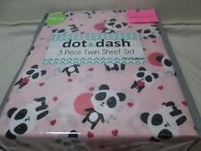 Dot & Dash Happy Panda Bears Twin Sheet Set ~  Pink, Red, Black,White,  NEW