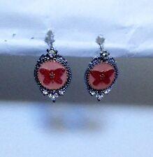 AGATHA Paris Pink Enamel Butterfly Silver Plated Pierced Dangle Earrings New
