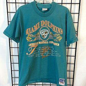 VTG 90s Miami Dolphins T Shirt Single Stitch Size L / M Nutmeg NFL Shield Patch